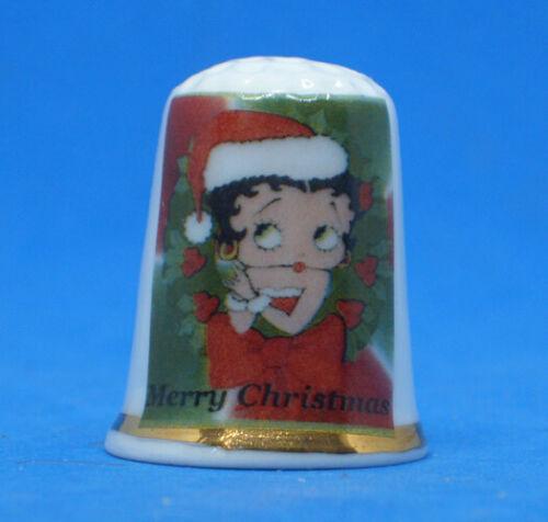 Birchcroft China Thimble --  Betty Boop Santa  -  Free Dome Gift Box