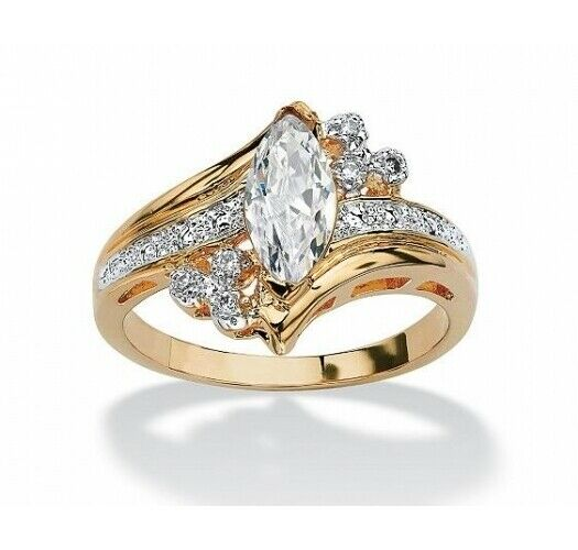 1.88 TCW Round Oval Cubic Zirconia 14k Gold-Plated Solitaire Engagement Ring CZ, Moissanite & Simulated