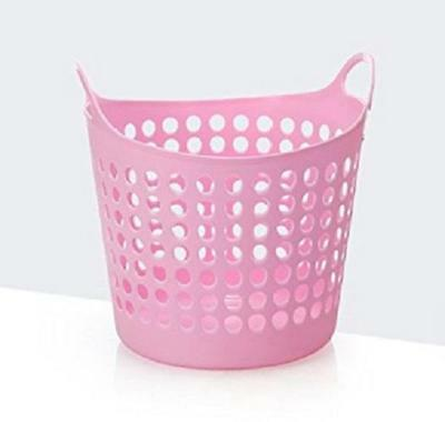 Flexible Plastic Laundry Washing Basket With Handles Bin Clothes Storage - Pink