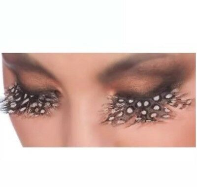 Black Snow Leopard Feather Eyelashes Theatrical Makeup Costume Accessory - Black Feather Eyelashes