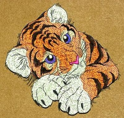 """Tiger, Wildlife, Exotic Cat, Kitten Embroidered Patch 5""""x 4.8"""""""