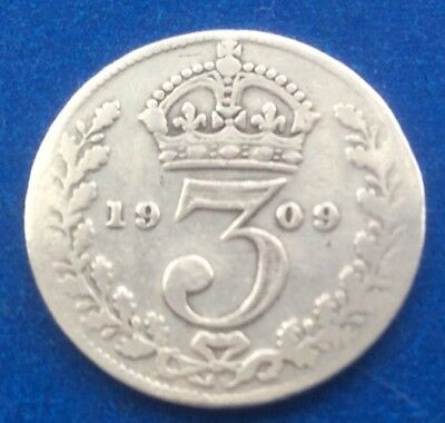 1909 KING EDWARD VII SILVER THREEPENCE COIN