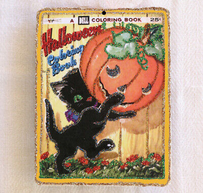 Glittered Wooden Halloween Ornament~ Black Cat~Vintage Coloring Book Image - Halloween Coloring Black Cat