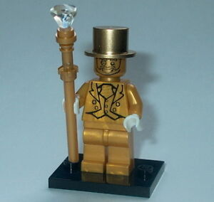 COLLECTIBLE MINIFIGURE Lego Custom Mr Pearl Gold w/ Staff & Stand (mpht)