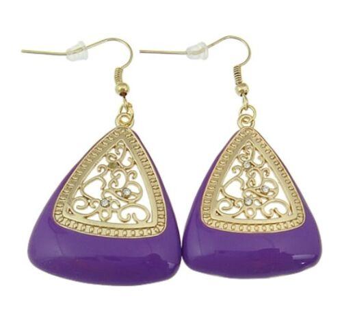 Wholesale Triangle Enamel Hook Earrings 1 Dozen
