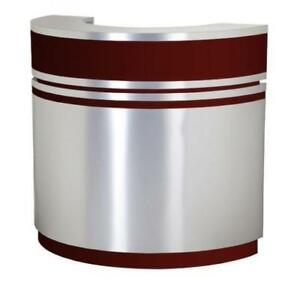 Reception Desk C-48 (Aluminum / Cherry Wood) OR (Aluminum / Burgundy) - BRAND NEW - FREE SHIPPING