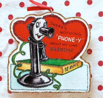 Glittered Wooden Valentine Ornament~Telephone~Vintage Card Image ~ Handmade