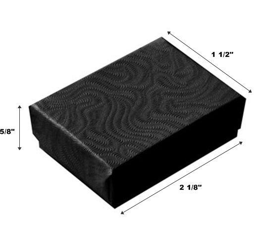 2 1/8 x 1 1/2 x 5/8 Lot of 500 Small Black Swirl Cotton Fill Jewelry Gift Boxes