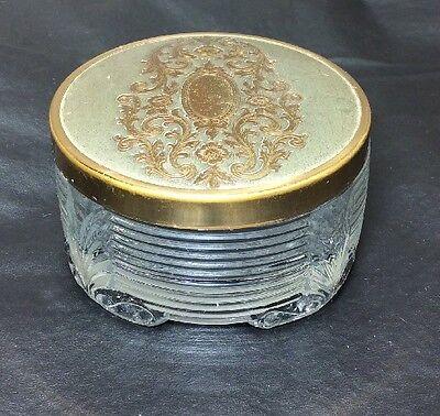 Antique/Vintage Art Deco Glass  With Metal Lid VANITY POWDER JAR