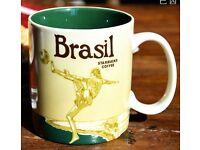 STARBUCKS BRAZIL BRASIL COFFEE MUG 16oz RARE