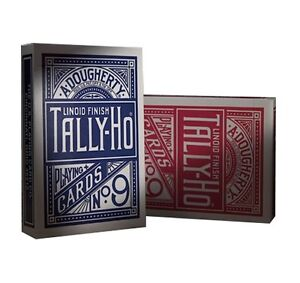 2-DECKS-Tally-Ho-Circle-Back-playing-cards-Red-Blue