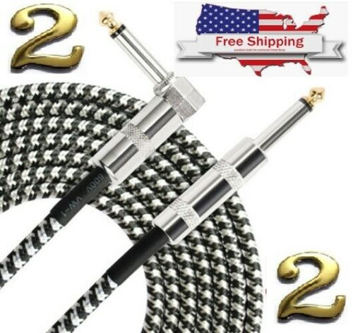 """2 SETS 10ft NOISELESS Electric Guitar Bass Cable Pedal AMP Cord 1/4"""" CERTIFIED"""