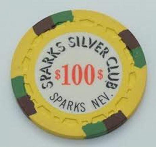 Sparks Silver Club Casino $100 Chip 1972