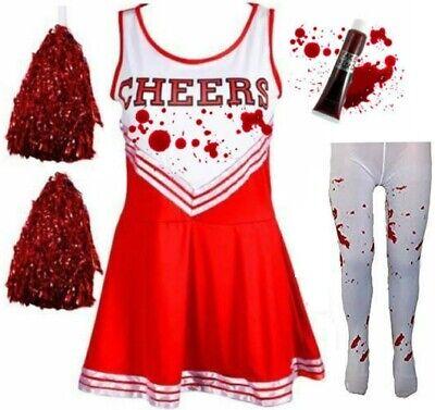 LADIES WOMENS ZOMBIE CHEERLEADER SCHOOL FANCY DRESS COSTUME - Cheerleader Kostüm Fancy Dress