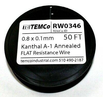 0.8 X 0.1 Mm - Flat A1 Kanthal Wire - 50ft Spool Rw0346