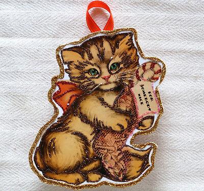 Glittered Wooden Christmas Ornament~ Vintage Card Image ~Cat & Stocking~Handmade