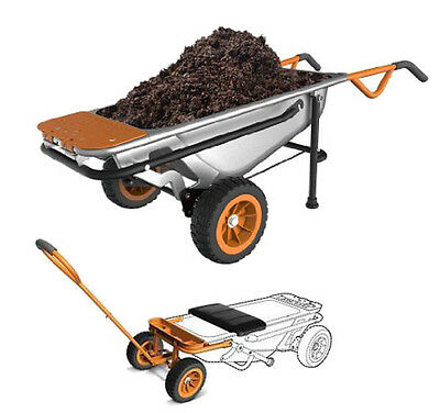 WORX WG050 Aerocart 8-in-1 Wheelbarrow/Garden Cart/Dolly + Wagon Kit WA0028