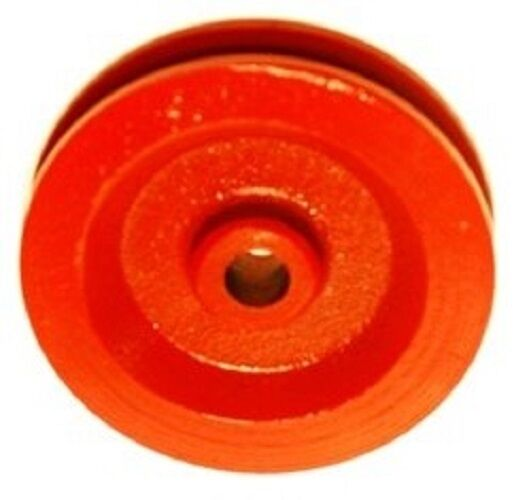 """2  Red Painted Cast Iron Wire Rope Cable Pulley Sheaves, 3-1/2"""" Diameter"""