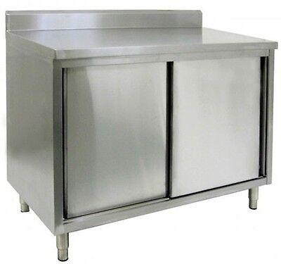 24 X 36 Stainless Steel Cabinet - Sliding Doors W Backsplash
