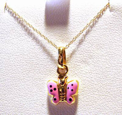 New 18KT Gold Pink Enamel Puffy Butterfly Girls Pendant & Chain Necklace Jewelry
