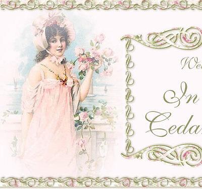 Vtg Girl Shabby Pink Chic Roses Victorian Ebay Listing Auction Template IMCC