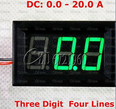 Green Led Dc 0 To 20a Panel Meter Mini Digital Ammeter New