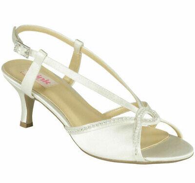 Ivory Mist (Paradox Pink MIST 20% OFF Ivory Satin Crystal Strappy Bridal Mid Heel Sandals)