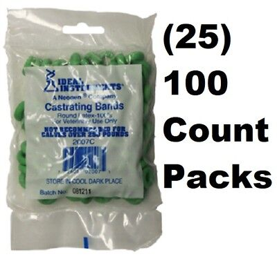 25 Ideal Instruments 2007 100 Ct Livestock Latex Castration Castrating Bands
