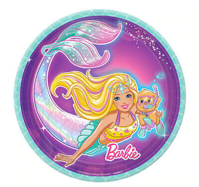 Barbie Party Plates (BARBIE MERMAID Happy Birthday party supplies dessert cake PAPER PLATES)
