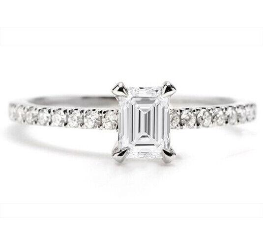 GIA Certified Diamond Engagement Ring 1.32 Carat Emerald & Round Shape 18k Gold