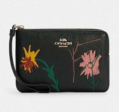 Coach x Basquiat Women's Leather Floral Corner Zip Wristlet - black multi - nwt