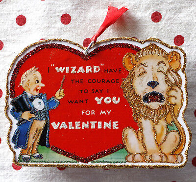 Glittered Handmade Valentine Ornament~Oz Wizard & Lion~Vintage Card Image
