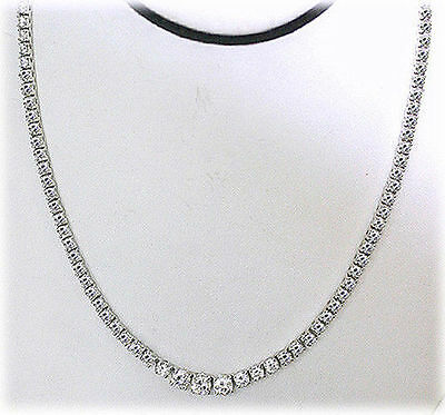 7.30 ct Round Diamond Graduated Tennis Necklace GIA G SI1 14k Gold 4 prongs 17""