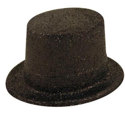 Black Glitter Top Hat Fancy Dress Costume Celebration Accessories Plastic Party