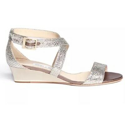 Jimmy Choo Women's Metallic Chiara Glitter Wedge Crisscross Sandals 6321 Sz 37EU