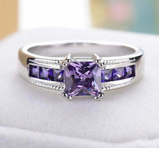 18k Gold Plated Ring Cubic Zirconia Elements Band Amethyst Princes Square Cut Cz Fashion Jewelry