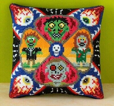 Zombie Invasion Mini Cushion Cross Stitch Kit, Sheena Rogers Designs