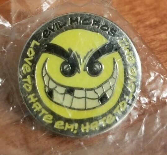 2006 Evil Micros Micro Pin Badge Lapel Pin Love to Hate Em OAKPINS