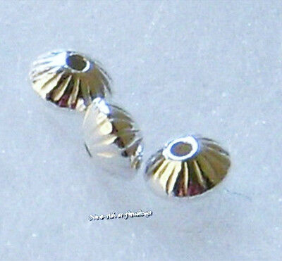 925 Sterling silver 5.7mm corrugated saucer beads 10pcs New