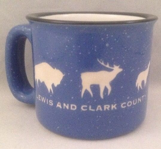 Lewis and Clark County Coffee Cup Mug Blue Etched Bison Wolf Elk Moose Bear Ram