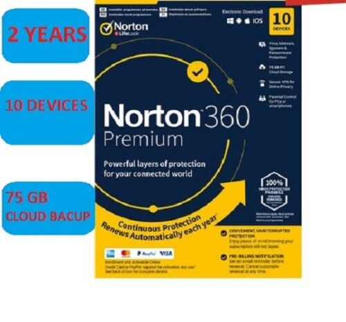 Norton 360 Premium 2021 | 10 Devices - 2 Year license. Electronic Delivery!