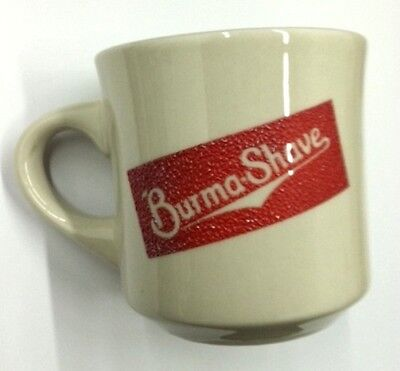 Vintage Burma Shave Mug - White & Red Ceramic Shaving Mug