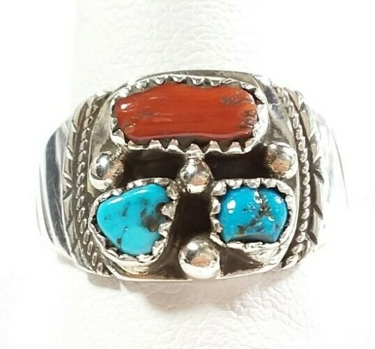NAVAJO KREE BLANCHARD STERLING STURDY ETCH TURQUOISE & CORAL SIZE 12.5 RING 9.3g