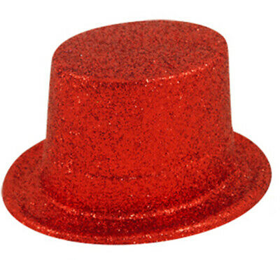 Red Glitter Top Hat Fancy Dress Costume Celebration Accessories Plastic Party