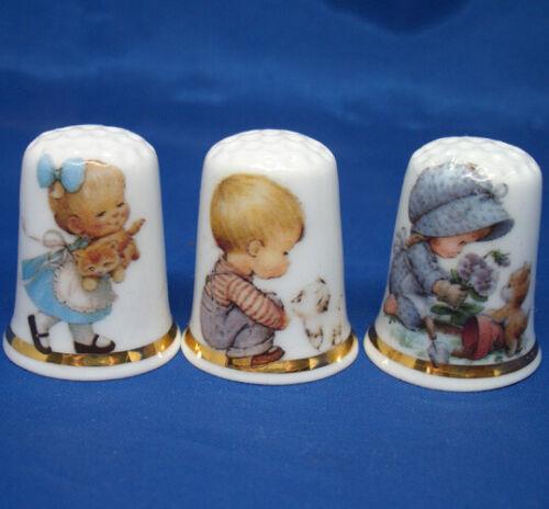 Birchcroft China Thimbles -- Set of Three -- Children & Kittens