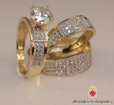 14k Yellow Gold Round Cut 2.50 Ct Diamond Trio Engagement Ring Bridal Band set for sale  Shipping to South Africa
