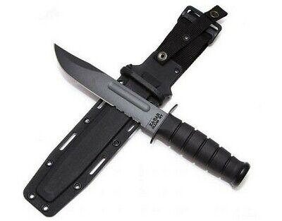 Ka-Bar 1214 Black Serrated Combo Fixed Blade Tactical Knife + Sheath
