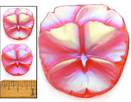 22mm Vintage Czech ORANGE AB 3-D Frosted Violet Pansy Flower Glass Buttons 2pc