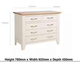 Solid oak alabaster chest of drawers 3+2