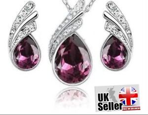 Womens Jewellery Austrian Crystal Earring Pendant Necklace Tear Drop Set